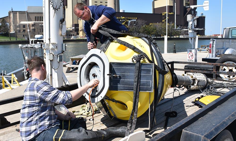 Getting a buoy ready for deployment